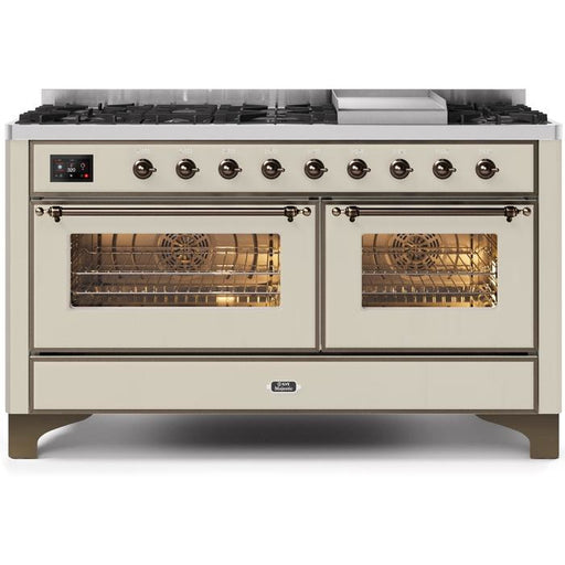 ILVE - Majestic II Series - 60 Inch Dual Fuel Freestanding Range Gas/Propane (UM15FDNS3) Range Natural Gas / Blue Grey / Bronze,Natural Gas / Blue Grey / Brass,Natural Gas / Blue Grey / Copper,Natural Gas / Blue Grey / Chrome,Natural Gas / White / Bronze,Natural Gas / White / Brass,Natural Gas / White / Copper,Natural Gas / White / Chrome,Natural Gas / Custom RAL Color / Bronze,Natural Gas / Custom RAL Color / Brass,Natural Gas / Custom RAL Color / Copper,Natural Gas / Custom RAL Color / Chrome,Natural Gas