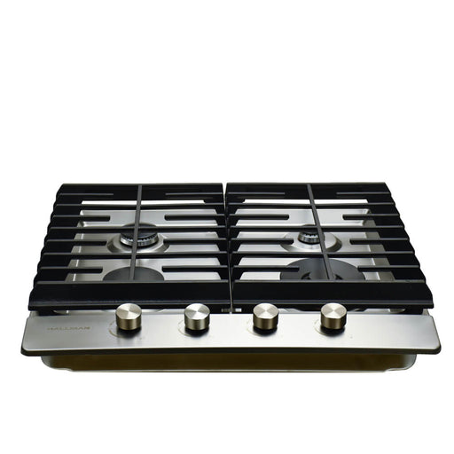 Hallman - 24 in. Gas Cooktop in Stainless Steel with 4 Burners including a Tri-Ring Power Burner - HGC2402ST Cooktop Default Title Hallman Black