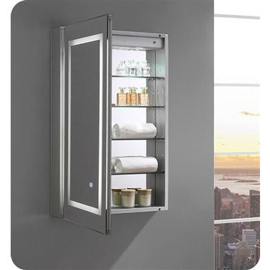 "Fresca - Spazio 24"" Wide x 36"" Tall Bathroom Medicine Cabinet with LED Lighting & Defogger (FMC022436-L) Medicine Cabinet with LED Lighting & Defogger Default Title Fresca Dark Gray"
