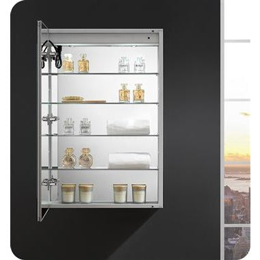 "Fresca - Spazio 24"" Wide x 36"" Tall Bathroom Medicine Cabinet with LED Lighting & Defogger (FMC022436-L) Medicine Cabinet with LED Lighting & Defogger Default Title Fresca Gray"