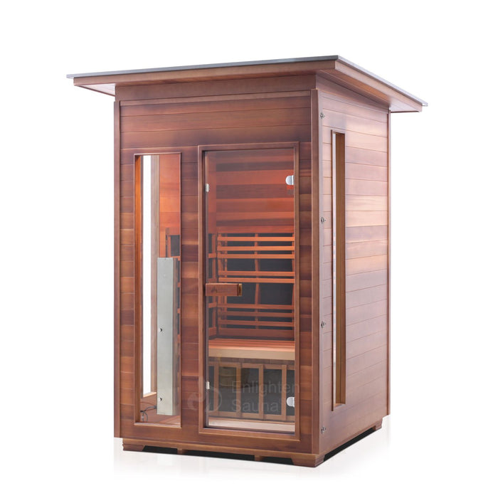 Enlighten Sauna - RUSTIC 2 - 2 Person Slope Full Spectrum Infrared Outdoor Sauna Infrared Sauna Default Title Enlighten Sauna Sienna