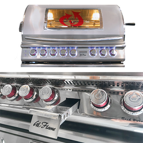 Cal Flame - Top Gun 5 Burner Built In Convection Grill LP/NG - BBQ18875CTG Built-In Grill Default Title Cal Flame Slate Gray