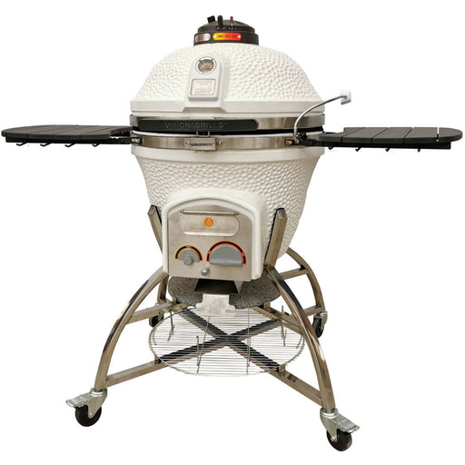 Vision Grills - Elite Series XD702 Maxis Charcoal and Gas Convertible Ceramic Kamado Grill Grill White - Natural Gas,White - Liquid Propane Vision Grills Rosy Brown
