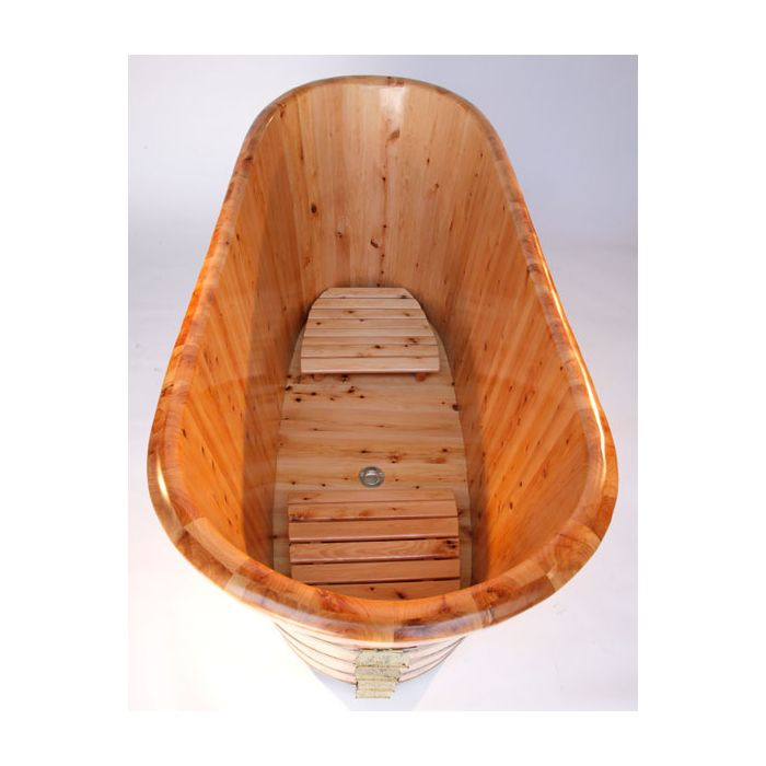 ALFI brand AB1105 63'' Free Standing Cedar Wooden Bathtub Wooden Bathtub Default Title Alfi Brand White Smoke