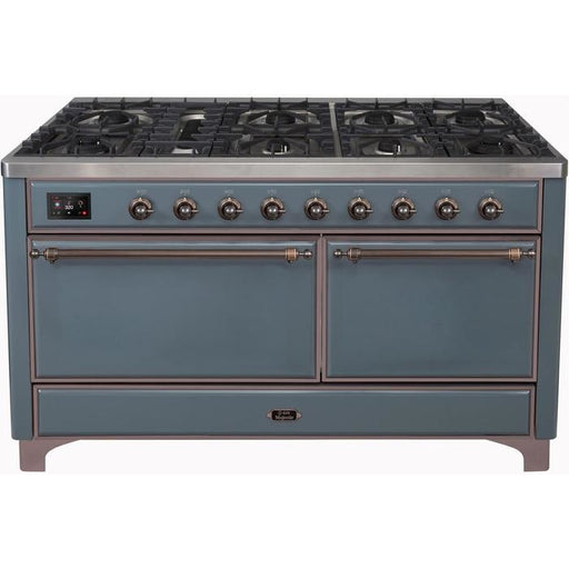 ILVE - Majestic II Series - 60 Inch Dual Fuel  Freestanding Range Gas/Propane (UM15FDQNS3) Range Natural Gas / Blue Grey / Bronze,Natural Gas / Blue Grey / Brass,Natural Gas / Blue Grey / Copper,Natural Gas / Blue Grey / Chrome,Natural Gas / White / Bronze,Natural Gas / White / Brass,Natural Gas / White / Copper,Natural Gas / White / Chrome,Natural Gas / Custom RAL Color / Bronze,Natural Gas / Custom RAL Color / Brass,Natural Gas / Custom RAL Color / Copper,Natural Gas / Custom RAL Color / Chrome,Natural Ga