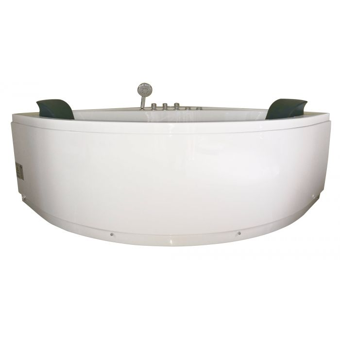 EAGO AM200 5' Rounded Modern Double Seat Corner Whirlpool Bath Tub with Fixtures Whirlpool Bathtub Default Title EAGO Beige