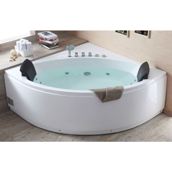 EAGO AM200 5' Rounded Modern Double Seat Corner Whirlpool Bath Tub with Fixtures Whirlpool Bathtub Default Title EAGO Light Steel Blue