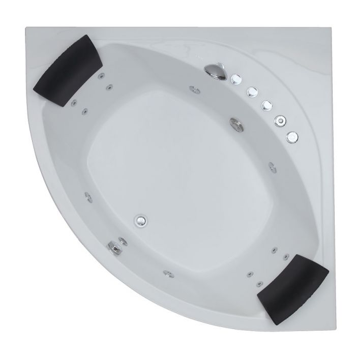 EAGO AM200 5' Rounded Modern Double Seat Corner Whirlpool Bath Tub with Fixtures Whirlpool Bathtub Default Title EAGO Light Gray