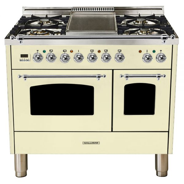 Hallman - 40 in.  Double Oven Dual Fuel Italian 5 Burner Range Gas/Propane (HDFR40) Ranges Natural Gas / Antique White / Chrome,Liquid Propane / Antique White / Chrome Hallman Antique White