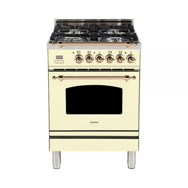 Hallman - 24 in. Single Oven Dual Fuel Italian 4 Burner Range Gas/Propane (HDFR24) Ranges Natural Gas / Antique White / Bronze,Liquid Propane / Antique White / Bronze Hallman Antique White