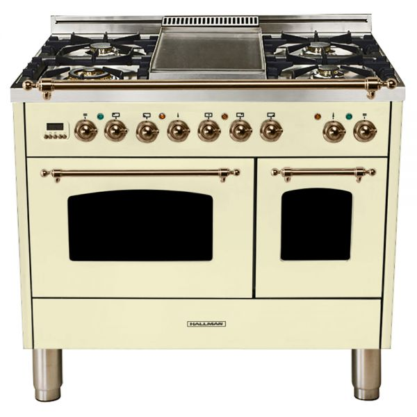 Hallman - 40 in.  Double Oven Dual Fuel Italian 5 Burner Range Gas/Propane (HDFR40) Ranges Natural Gas / Antique White / Bronze,Liquid Propane / Antique White / Bronze Hallman Bisque