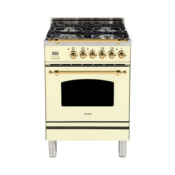 Hallman - 24 in. Single Oven Dual Fuel Italian 4 Burner Range Gas/Propane (HDFR24) Ranges Natural Gas / Antique White / Brass,Liquid Propane / Antique White / Brass Hallman Antique White