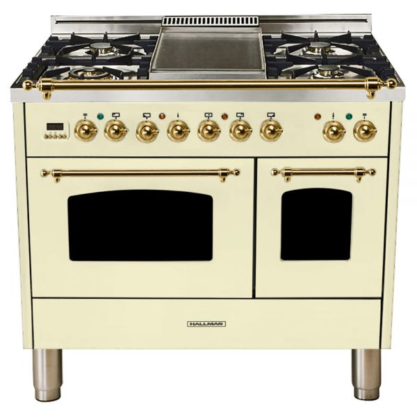 Hallman - 40 in.  Double Oven Dual Fuel Italian 5 Burner Range Gas/Propane (HDFR40) Ranges Natural Gas / Antique White / Brass,Liquid Propane / Antique White / Brass Hallman Bisque