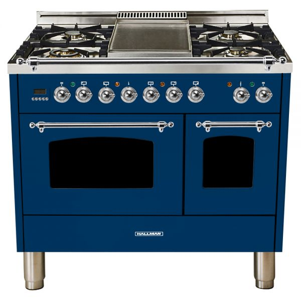 Hallman - 40 in.  Double Oven Dual Fuel Italian 5 Burner Range Gas/Propane (HDFR40) Ranges Natural Gas / Blue / Chrome,Liquid Propane / Blue / Chrome Hallman Midnight Blue