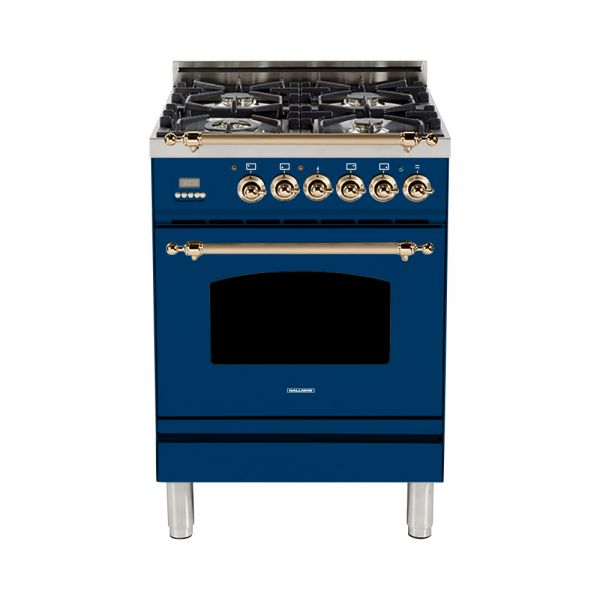 Hallman - 24 in. Single Oven Dual Fuel Italian 4 Burner Range Gas/Propane (HDFR24) Ranges Natural Gas / Blue / Bronze,Liquid Propane / Blue / Bronze Hallman Midnight Blue