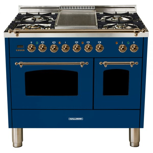 Hallman - 40 in.  Double Oven Dual Fuel Italian 5 Burner Range Gas/Propane (HDFR40) Ranges Natural Gas / Blue / Bronze,Liquid Propane / Blue / Bronze Hallman Midnight Blue