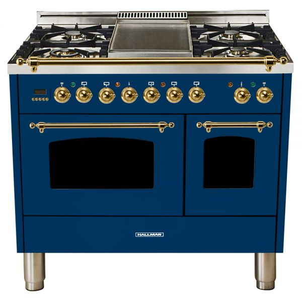 Hallman - 40 in.  Double Oven Dual Fuel Italian 5 Burner Range Gas/Propane (HDFR40) Ranges Natural Gas / Blue / Brass,Liquid Propane / Blue / Brass Hallman Midnight Blue