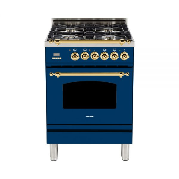 Hallman - 24 in. Single Oven Dual Fuel Italian 4 Burner Range Gas/Propane (HDFR24) Ranges Natural Gas / Blue / Brass,Liquid Propane / Blue / Brass Hallman Midnight Blue