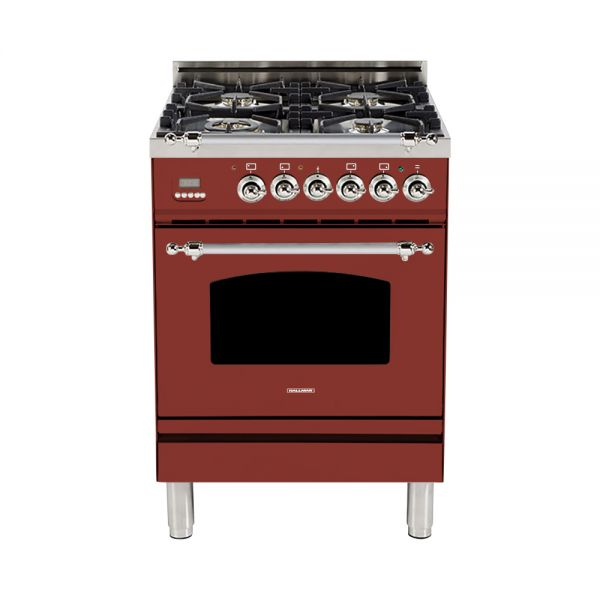Hallman - 24 in. Single Oven Dual Fuel Italian 4 Burner Range Gas/Propane (HDFR24) Ranges Natural Gas / Burgundy / Chrome,Liquid Propane / Burgundy / Chrome Hallman Saddle Brown