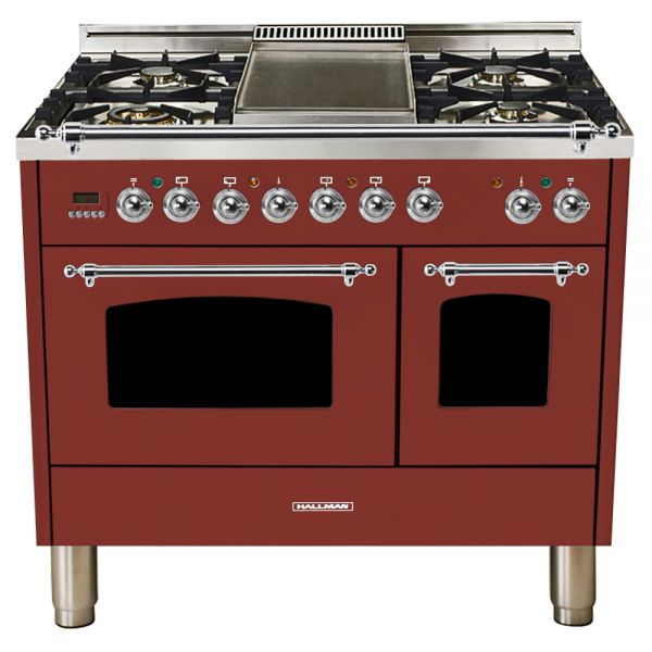 Hallman - 40 in.  Double Oven Dual Fuel Italian 5 Burner Range Gas/Propane (HDFR40) Ranges Natural Gas / Burgundy / Chrome,Liquid Propane / Burgundy / Chrome Hallman Saddle Brown