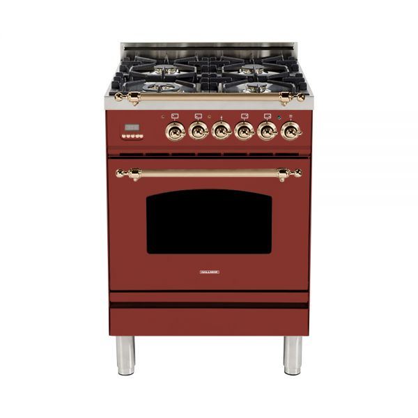 Hallman - 24 in. Single Oven Dual Fuel Italian 4 Burner Range Gas/Propane (HDFR24) Ranges Natural Gas / Burgundy / Bronze,Liquid Propane / Burgundy / Bronze Hallman Saddle Brown