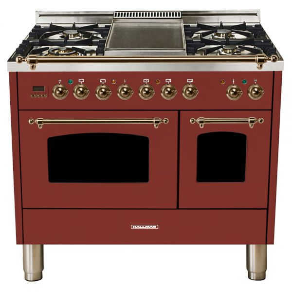 Hallman - 40 in.  Double Oven Dual Fuel Italian 5 Burner Range Gas/Propane (HDFR40) Ranges Natural Gas / Burgundy / Bronze,Liquid Propane / Burgundy / Bronze Hallman Saddle Brown