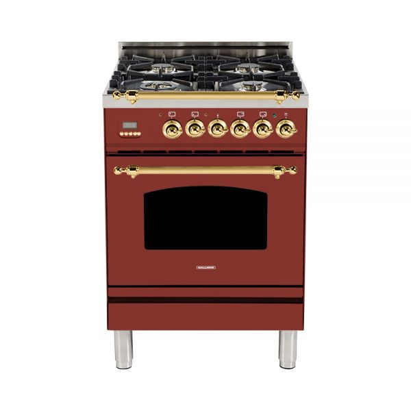 Hallman - 24 in. Single Oven Dual Fuel Italian 4 Burner Range Gas/Propane (HDFR24) Ranges Natural Gas / Burgundy / Brass,Liquid Propane / Burgundy / Brass Hallman Saddle Brown