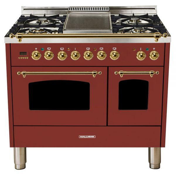 Hallman - 40 in.  Double Oven Dual Fuel Italian 5 Burner Range Gas/Propane (HDFR40) Ranges Natural Gas / Burgundy / Brass,Liquid Propane / Burgundy / Brass Hallman Saddle Brown