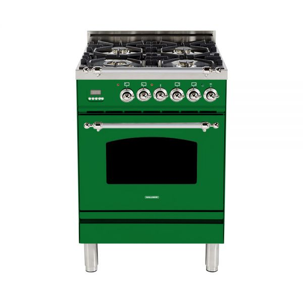 Hallman - 24 in. Single Oven Dual Fuel Italian 4 Burner Range Gas/Propane (HDFR24) Ranges Natural Gas / Emerald Green / Chrome,Liquid Propane / Emerald Green / Chrome Hallman Dark Slate Gray