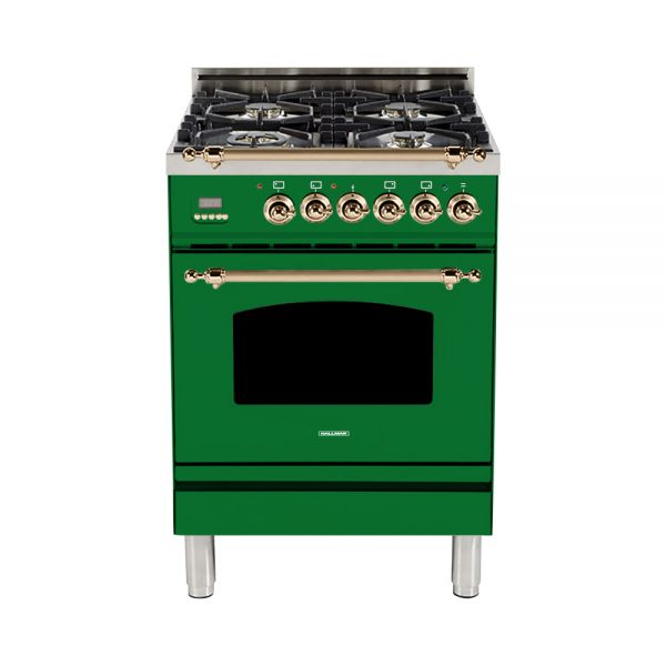 Hallman - 24 in. Single Oven Dual Fuel Italian 4 Burner Range Gas/Propane (HDFR24) Ranges Natural Gas / Emerald Green / Bronze,Liquid Propane / Emerald Green / Bronze Hallman Forest Green