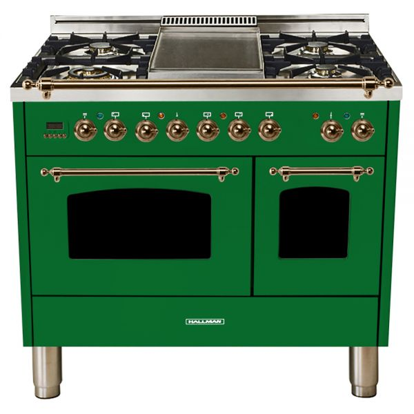 Hallman - 40 in.  Double Oven Dual Fuel Italian 5 Burner Range Gas/Propane (HDFR40) Ranges Natural Gas / Emerald Green / Bronze,Liquid Propane / Emerald Green / Bronze Hallman Forest Green
