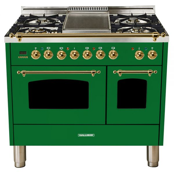 Hallman - 40 in.  Double Oven Dual Fuel Italian 5 Burner Range Gas/Propane (HDFR40) Ranges Natural Gas / Emerald Green / Brass,Liquid Propane / Emerald Green / Brass Hallman Forest Green