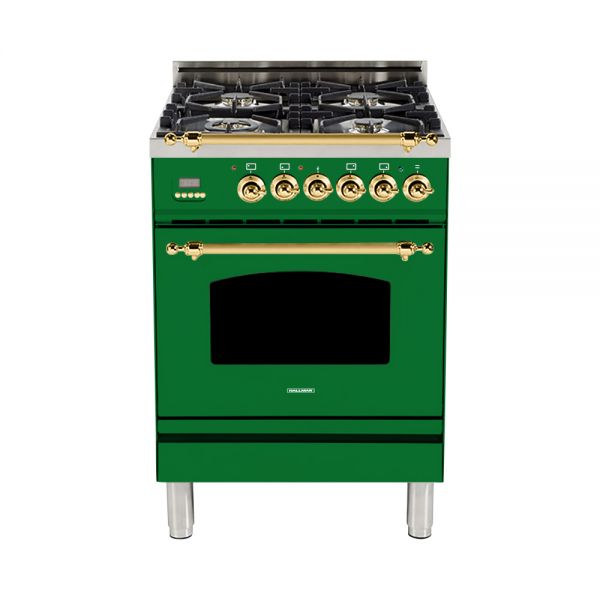 Hallman - 24 in. Single Oven Dual Fuel Italian 4 Burner Range Gas/Propane (HDFR24) Ranges Natural Gas / Emerald Green / Brass,Liquid Propane / Emerald Green / Brass Hallman Forest Green