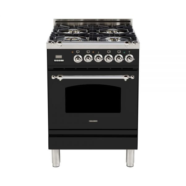 Hallman - 24 in. Single Oven Dual Fuel Italian 4 Burner Range Gas/Propane (HDFR24) Ranges Natural Gas / Glossy Black / Chrome,Liquid Propane / Glossy Black / Chrome Hallman Black