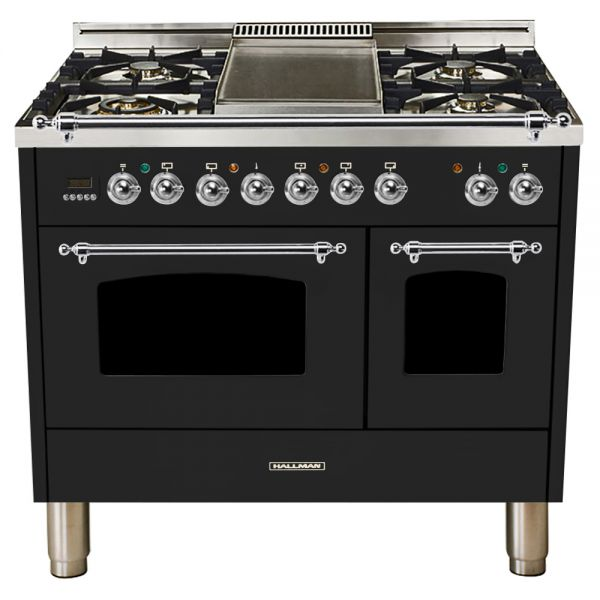 Hallman - 40 in.  Double Oven Dual Fuel Italian 5 Burner Range Gas/Propane (HDFR40) Ranges Natural Gas / Glossy Black / Chrome,Liquid Propane / Glossy Black / Chrome Hallman Black