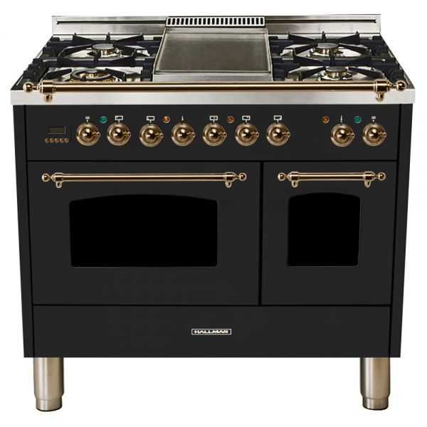 Hallman - 40 in.  Double Oven Dual Fuel Italian 5 Burner Range Gas/Propane (HDFR40) Ranges Natural Gas / Glossy Black / Bronze,Liquid Propane / Glossy Black / Bronze Hallman Black