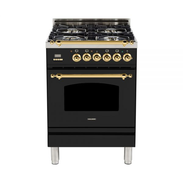 Hallman - 24 in. Single Oven Dual Fuel Italian 4 Burner Range Gas/Propane (HDFR24) Ranges Natural Gas / Glossy Black / Brass,Liquid Propane / Glossy Black / Brass Hallman Black