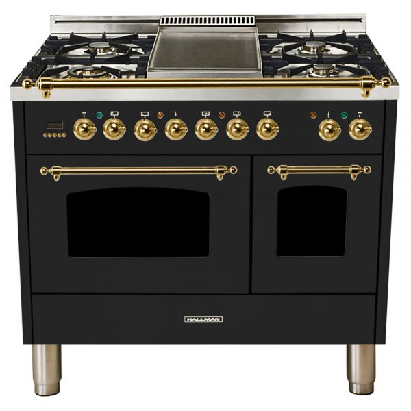 Hallman - 40 in.  Double Oven Dual Fuel Italian 5 Burner Range Gas/Propane (HDFR40) Ranges Natural Gas / Glossy Black / Brass,Liquid Propane / Glossy Black / Brass Hallman Black