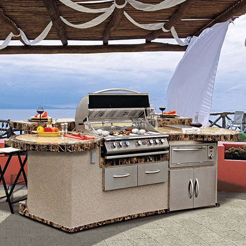 Cal Flame - CUSTOM PAVILION BBQ ISLANDS - GPV3032 Outdoor Kitchen Islands Default Title Cal Flame Light Steel Blue