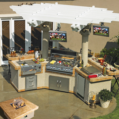 Cal Flame - CUSTOM PAVILION BBQ ISLANDS - GPV3100 Outdoor Kitchen Islands Default Title Cal Flame Dim Gray