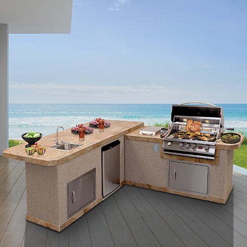 Cal Flame - LUXURY BBQ KITCHENS - LBK- 870 R/L (2 PC Island) Outdoor Kitchen Islands Right,Left Cal Flame Light Steel Blue