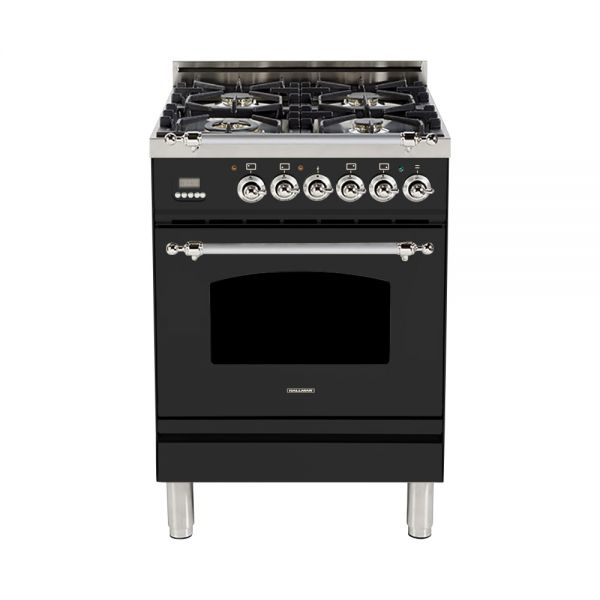 Hallman - 24 in. Single Oven Dual Fuel Italian 4 Burner Range Gas/Propane (HDFR24) Ranges Natural Gas / Matte Graphite / Chrome,Liquid Propane / Matte Graphite / Chrome Hallman Black