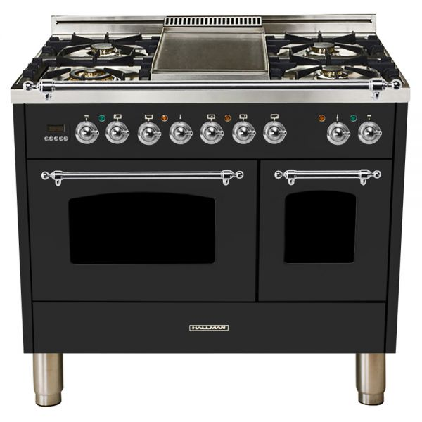 Hallman - 40 in.  Double Oven Dual Fuel Italian 5 Burner Range Gas/Propane (HDFR40) Ranges Natural Gas / Matte Graphite / Chrome,Liquid Propane / Matte Graphite / Chrome Hallman Black