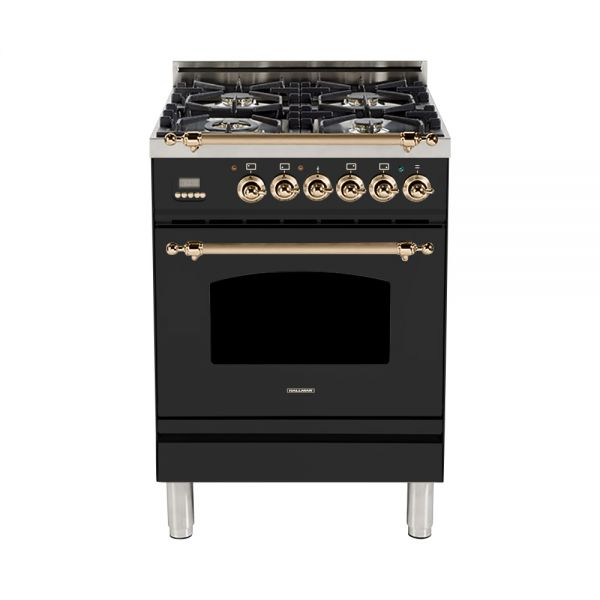 Hallman - 24 in. Single Oven Dual Fuel Italian 4 Burner Range Gas/Propane (HDFR24) Ranges Natural Gas / Matte Graphite / Bronze,Liquid Propane / Matte Graphite / Bronze Hallman Dark Slate Gray