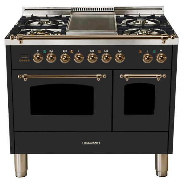 Hallman - 40 in.  Double Oven Dual Fuel Italian 5 Burner Range Gas/Propane (HDFR40) Ranges Natural Gas / Matte Graphite / Bronze,Liquid Propane / Matte Graphite / Bronze Hallman Dark Slate Gray