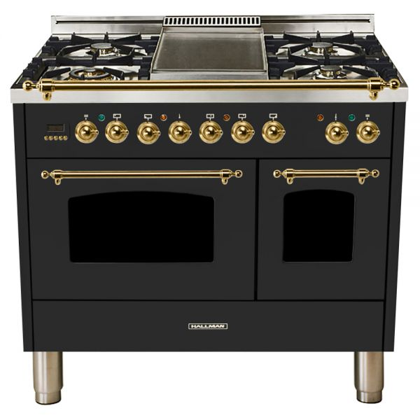 Hallman - 40 in.  Double Oven Dual Fuel Italian 5 Burner Range Gas/Propane (HDFR40) Ranges Natural Gas / Matte Graphite / Brass,Liquid Propane / Matte Graphite / Brass Hallman Dark Slate Gray