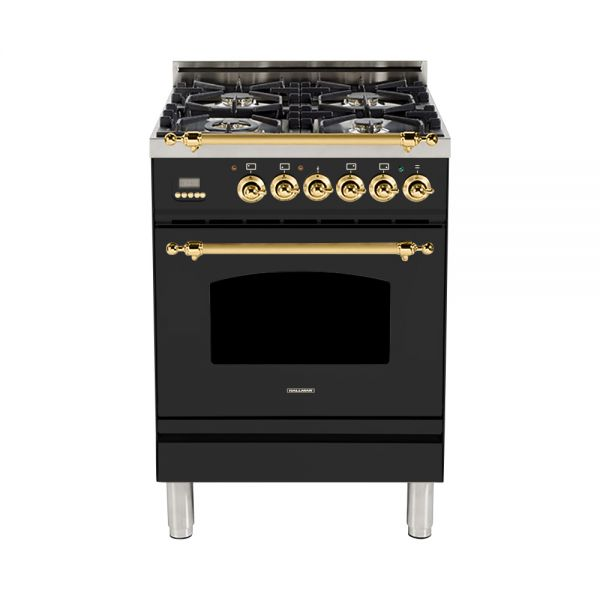Hallman - 24 in. Single Oven Dual Fuel Italian 4 Burner Range Gas/Propane (HDFR24) Ranges Natural Gas / Matte Graphite / Brass,Liquid Propane / Matte Graphite / Brass Hallman Black