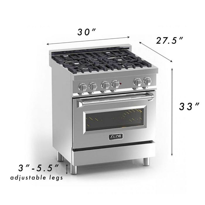 ZLINE - 30 IN. PROFESSIONAL DUAL FUEL RANGE WITH WHITE MATTE DOOR - RA-WM-30 Ranges Default Title Zline Dark Gray