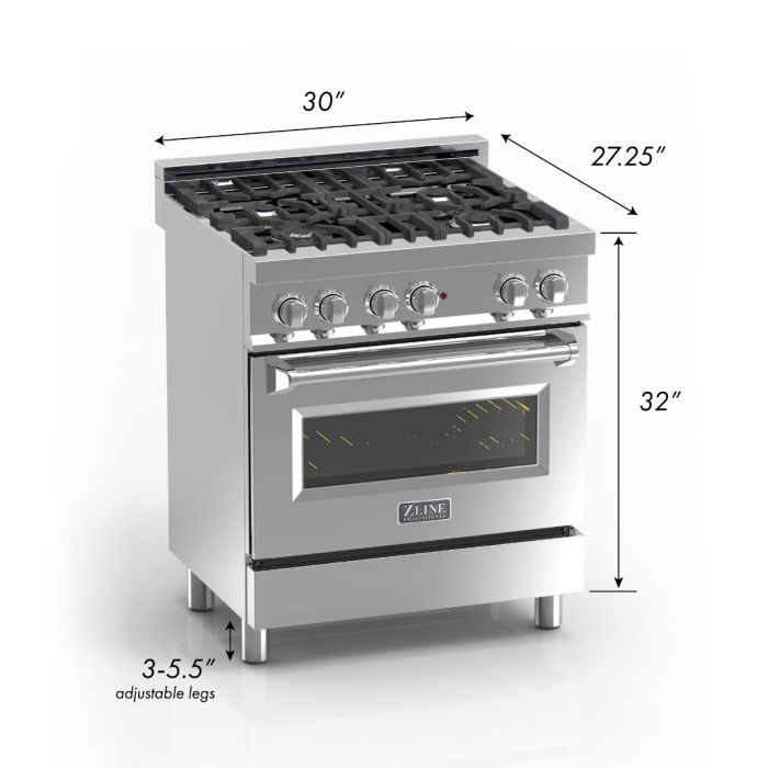 ZLINE - 30 IN. PROFESSIONAL DUAL FUEL RANGE IN DURASNOW® STAINLESS STEEL WITH RED MATTE DOOR - RAS-RM-30 Ranges Default Title Zline Dark Gray