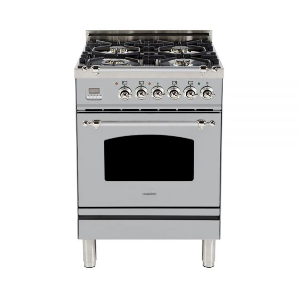 Hallman - 24 in. Single Oven Dual Fuel Italian 4 Burner Range Gas/Propane (HDFR24) Ranges Natural Gas / Stainless Steel / Chrome,Liquid Propane / Stainless Steel / Chrome Hallman Gray